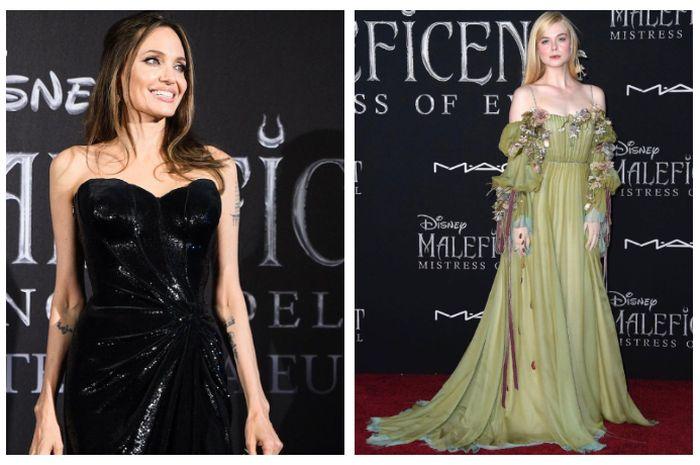 Hadiri Premier Maleficent: Mistress of Evil, Angelina Jolie dan Elle Fanning Kompak Tampil Glamor Bak Putri Disney