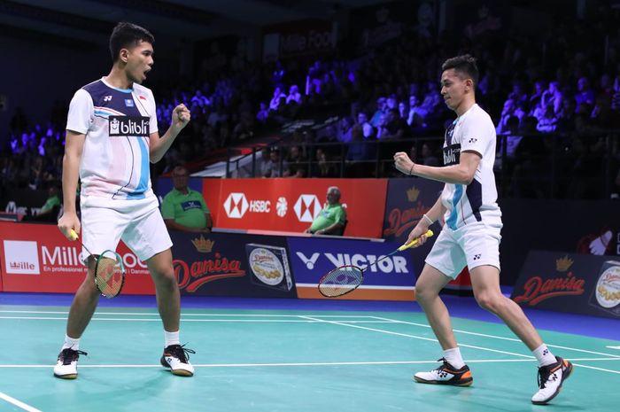 Pasangan ganda putra Indonesia, Fajar Alfian/Muhammad Rian Ardianto, bereaksi setelah menjalani babak pertama Denmark Open 2019 di Odense Sportspark, Rabu (16/10/2019).
