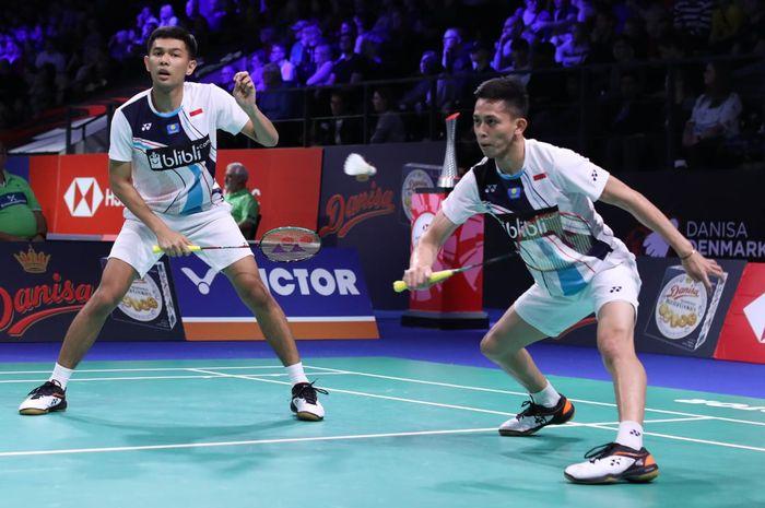 Pasangan ganda putra Indonesia, Fajar Alfian/Muhammad Rian Ardianto,  menjalani babak pertama Denmark Open 2019 di Odense Sportspark, Rabu (16/10/2019)