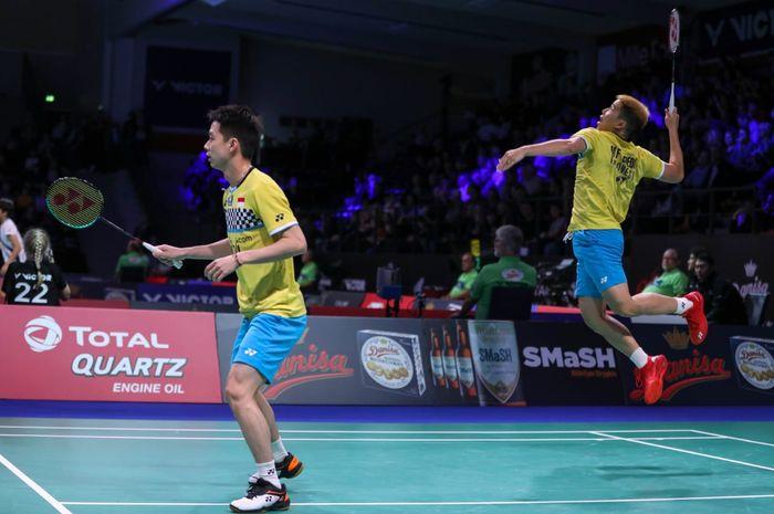 Ganda putra Indonesia, Marcus Fernaldi Gideon/Kevin Sanjaya Sukamuljo, tampil pada babak perempat final Denmark Open 2019 di Odense, Denmark, Jumat (18/10/2019).