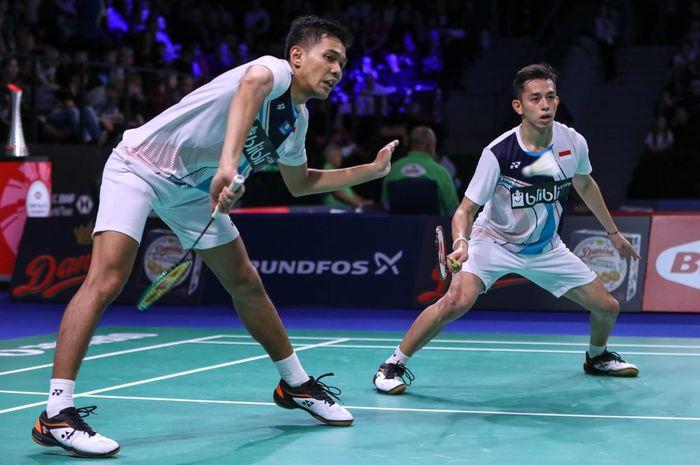 Pasangan ganda putra Indonesia, Fajar Alfian/Muhammad Rian Ardianto, bertanding pada babak perempat final Denmark Open 2019, Jumat (18/10/2019).
