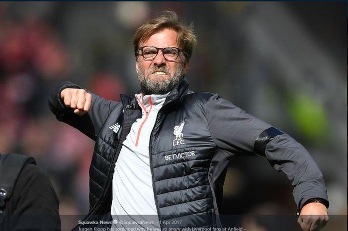 Ekspresi pelatih Liverpool, Juergen Klopp.