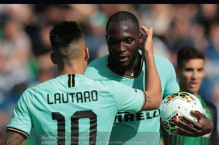 Penyerang Inter Milan, Lautaro Martinez dan Romelu Lukaku.