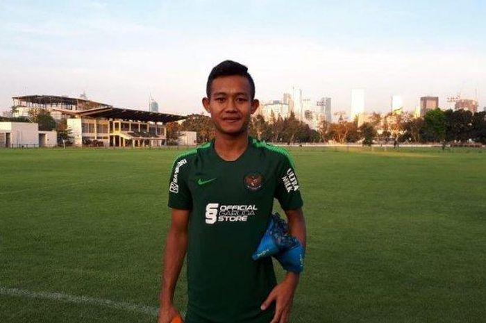 Gelandang Bhayangkara FC, Sani Rizki Fauzi saat menjalani pemusatan latihan Timnas U-23 di Lapangan G, Kompleks Gelora Bung Karno, Senayan, Jakarta, Senin (21/10/2019).