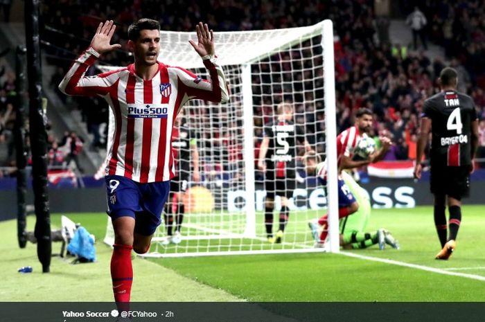 Striker Atletico Madrid, Alvaro Morata, melakukan selebrasi usai membobol gawang Bayer Leverkusen dalam matchday ketiga Grup D Liga Champions 2019-2020, Selasa (22/10/2019).