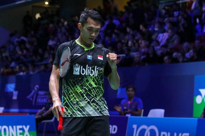 Pemain tunggal putra Indonesia, Jonatan Christie, tampil pada babak pertama French Open 2019 di Paris, Prancis, Rabu (23/10/2019) waktu setempat.