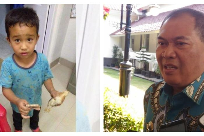 Kolase foto ilustrasi Bocah dan Anak Ayam (kiri) / Wali Kota Bandung, Oded M Danial (kanan)