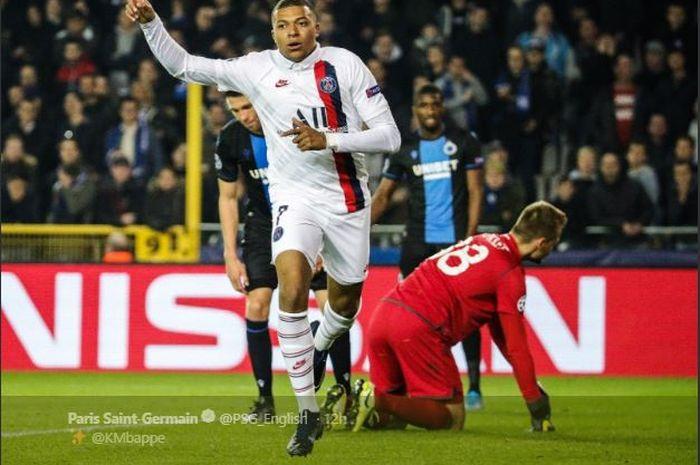 Penyerang Paris Saint-Germain, Kylian Mbappe, mencetak hat-trick dalam laga Liga Champions melawan Club Brugge di Stadion Jan Breydel, 22 Oktober 2019.