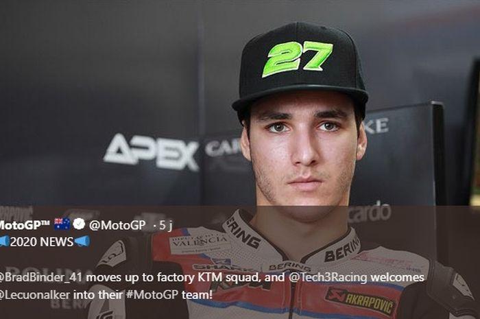 Pembalap Moto2 asal Spanyol, Iker Lecuona, yang akan berlaga di kelas MotoGP bersama KT Tech3 mulai musim depan.