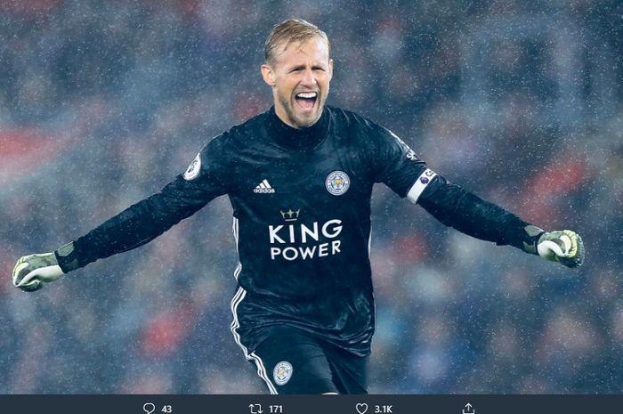 Ekspresi Kasper Schmeichel saat Leicester City sukses memetik kemenangan besar pada pekan ke-10 Liga Inggris (2019/20),  Jumat (25/10/2019)
