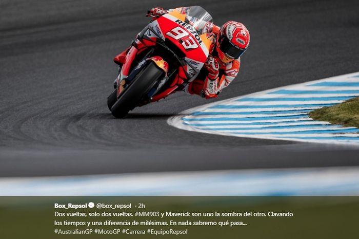 Aksi pembalap Repsol Honda, Marc Marquez pada sesi balapan MotoGP Australia 2019, Minggu (27/10/2019)