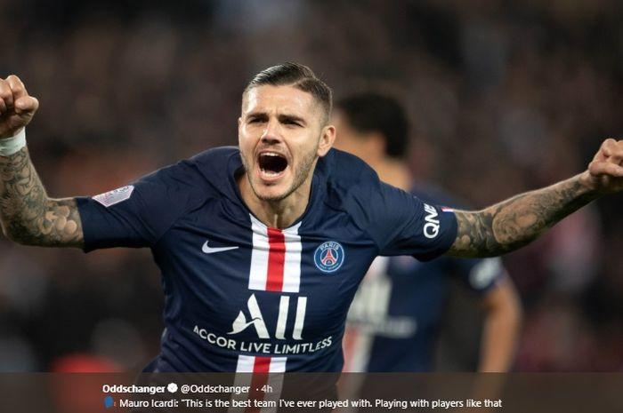 Penyerang Inter Milan yang tengah dipinjamkan ke Paris Saint-Germain, Mauro Icardi.