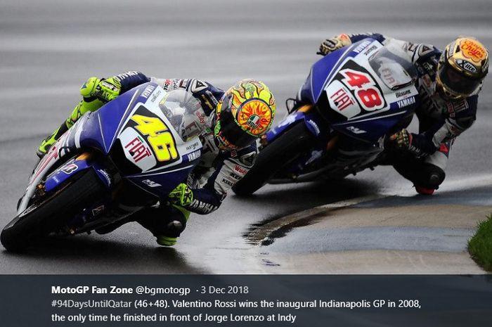 Momen saat Valentino Rossi menyalip Jorge Lorenzo di Indianapolis pada MotoGP 2008