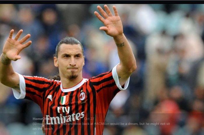 Zlatan Ibrahimovic saat membela AC Milan..