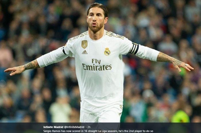 Bek sekaligus kapten Real Madrid, Sergio Ramos.