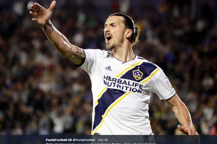 Penyerang Los Angeles Galaxy asal Swedia, Zlatan Ibrahimovic.