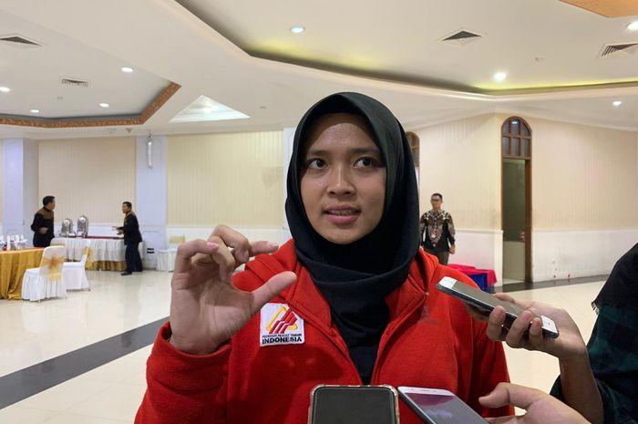 Atlet panjat tebing Indonesia, Aries Susanti Rahayu, di Kantor Kemenpora, Jakarta, Selasa (5/11/2019).