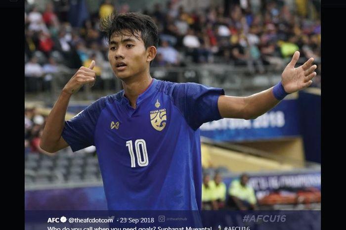 Penyerang timnas U-19 Thailand, Suphanat Mueanta.