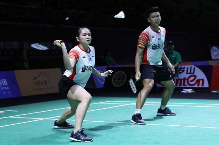 Pasangan Praveen Jordan/Melati Daeva Oktavianti kala berlaga pada hari kedua Fuzhou China Open 2019, Rabu (6/11/2019).