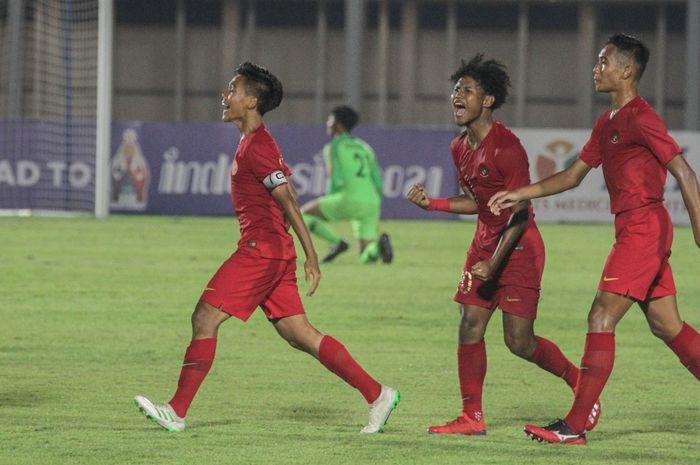 Skuat Timnas U-19 Indonesia saat tampil menghadapi Timor Leste pada laga pertama Kualifikasi Piala Asia U-19 2020 di Stadion Madya, Jakarta, Rabu (6/11/2019) malam WIB.