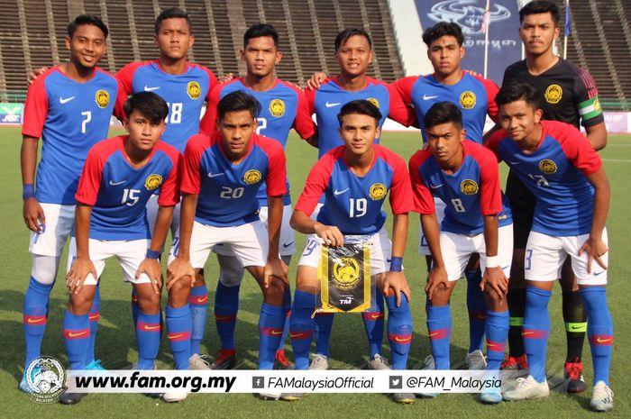 Skuat timnas U-19 Malaysia saat mencukur Kep. Mariana  Utara 10-0 di National Stadium Phnom Penh, Jumat (8/11/2019).
