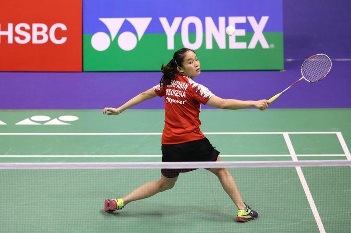 Pemain tunggal putri Indonesia, Ruselli Hartawan, saat berlaga melawan An Se Young pada babak kedua Hong Kong Open 2019 Kamis (14/11/2019)