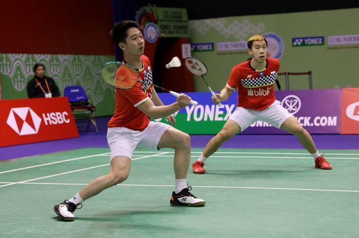 Pasangan Indonesia, Marcus Fernaldi Gideon dan Kevin Sanjaya Sukamuljo, saat beraksi di Hong Kong Open 2019.
