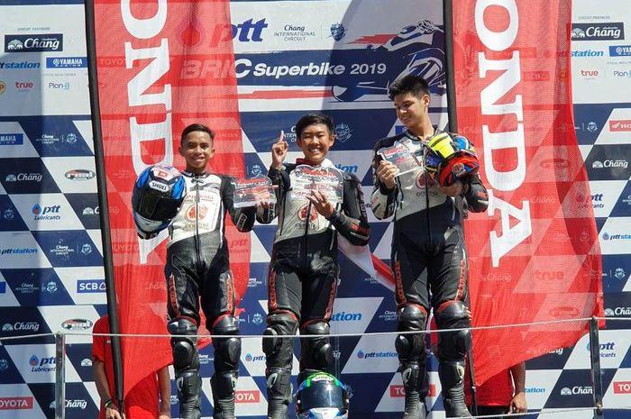 Pembalap Indonesia, Azryan Dheyo, menjuarai balapan Thailand Talent Cup di Chang International Circuit, Buriram, Thailand, Minggu (17/11/2019)
