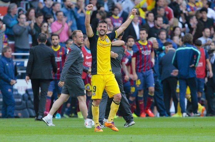 Penyerang Atletico Madrid, David Villa, saat bermain di Liga Spanyol pada 17 Mei 2014.