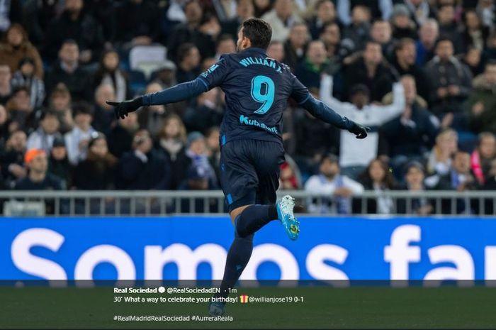 Selebrasi William Jose usai menjebol gawang Real Madrid si Stadion Santiago Bernabeu, Sabtu (23/11/2019) atau Minggu dini hari WIB.