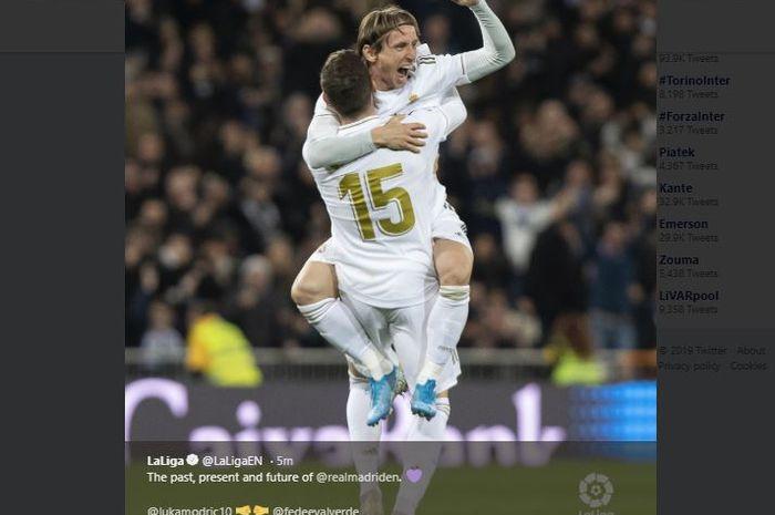 Selebrasi Luka Modric dan Federico Valverde usai Real Madrid menang atas Real Sociedad di Stadion Santiago Bernabeu pada pekan ke-14 Liga Spanyol, Sabtu (23/11/2019) atau Minggu dini hari WIB.