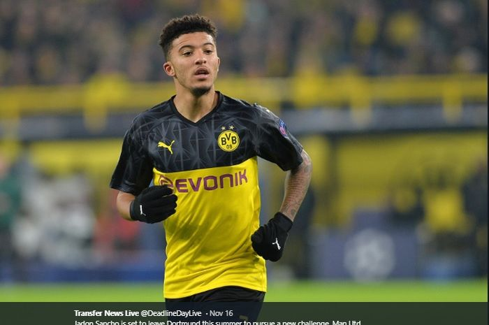 Winger Borussia Dortmund, Jadon Sancho, tengah diincar serius oleh Manchester United dan Liverpool.
