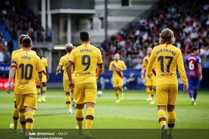 Trio MSG (Lionel Messi, Luis Suarez, dan Antoine Griezmann) dalam pertandingan Barcelona melawan Levante pada laga lanjutan Liga Spanyol.
