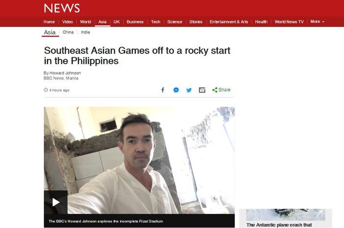Pemberitaan media Inggris, BBC tentang kacau balaunya SEA Games 2019.