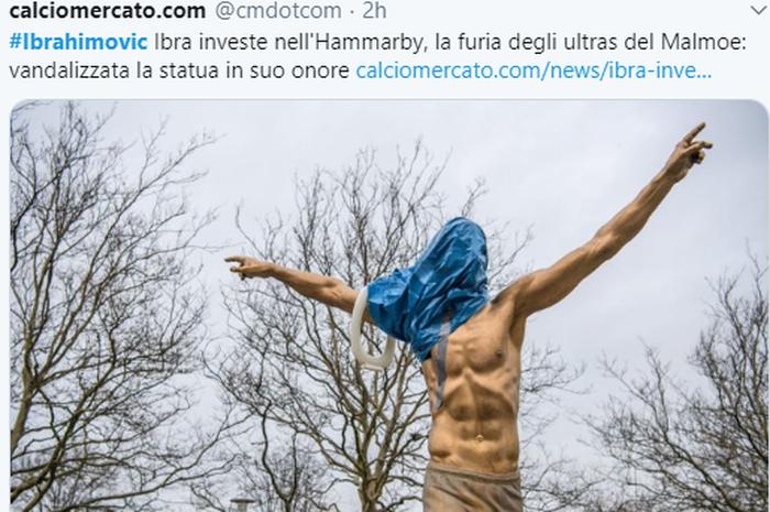 Patung Zlatan Ibrahimovic di depan Stadion Malmoe menjadi korban vandalisme suporter.