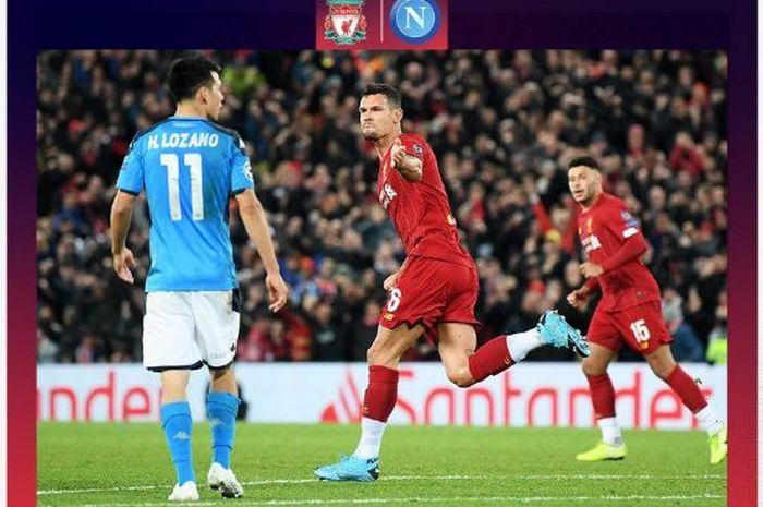 Bek Liverpool, Dejan Lovren (tengah), merayakan gol yang dicetak ke gawang Napoli dalam laga Grup E Liga Champions di Stadion Anfield, Rabu (27/11/2019).
