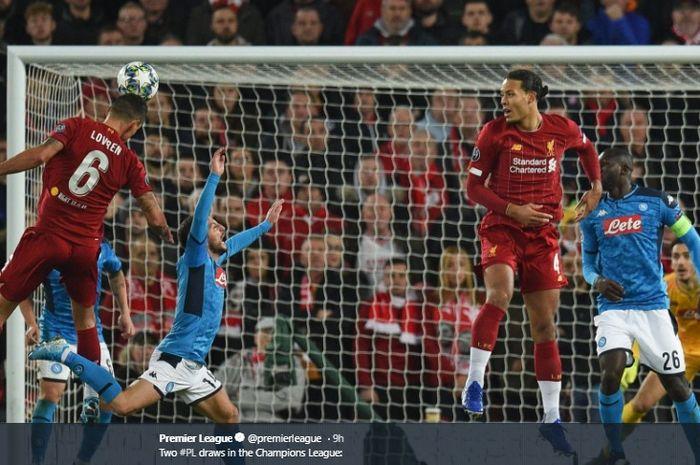 Proses terjadinya gol Dejan Lovren ke gawang Napoli pada matchday kelima Liga Champions di Stadion Anfield, Rabu (27/11/2019).