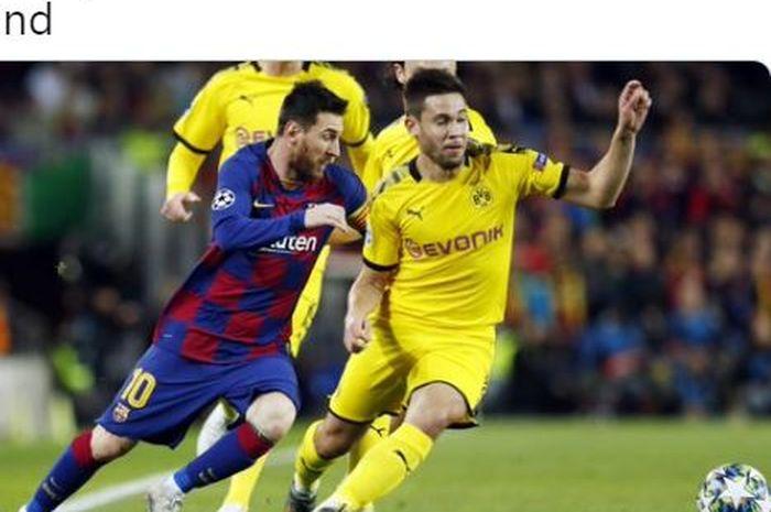 Megabintang Barcelona, Lionel Messi (kiri).