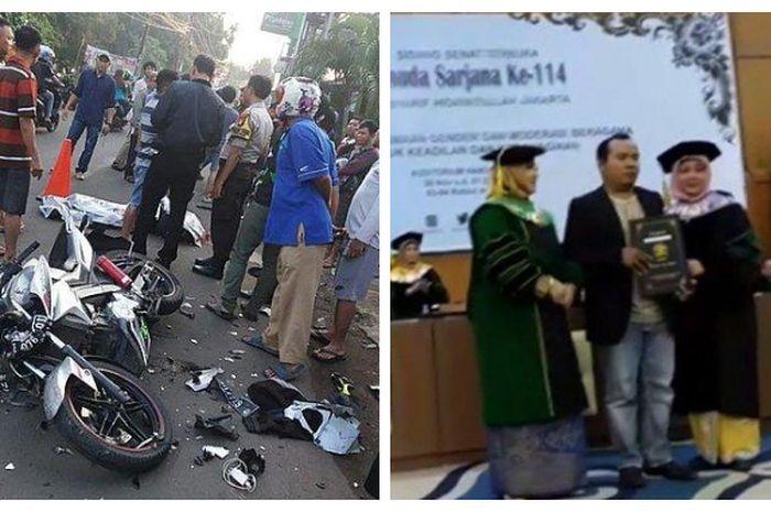 Lokasi kecelakaan Nurul Faqih, dan sang kakak saat menerima piagam di wisudanya