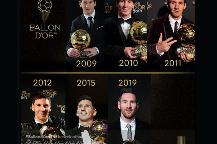 Lionel Messi 6 kali memenangi Ballon d'Or.