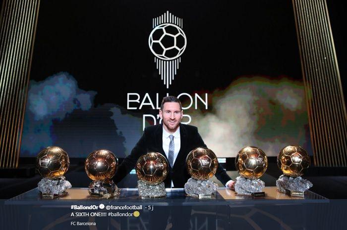 Lionel Messi tambah koleksi trofi Ballon d'Or menjadi 6 piala.