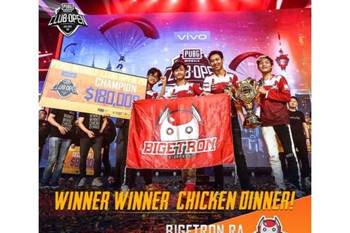 BIGETRON RA selaku perwakilan dari Indonesia menjadi pemenang di PUBG Mobile Club Open 2019 musim kedua hingga mengukuhkan Indonesia sebagai juara dunia.