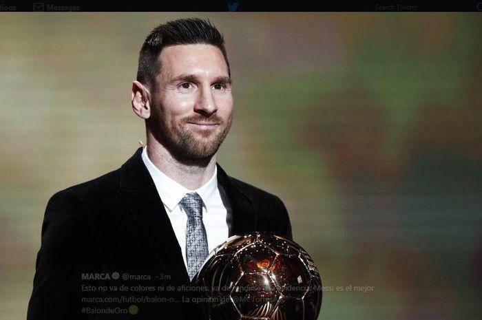 Lionel Messi meraih trofi Ballon d'Or 2019.