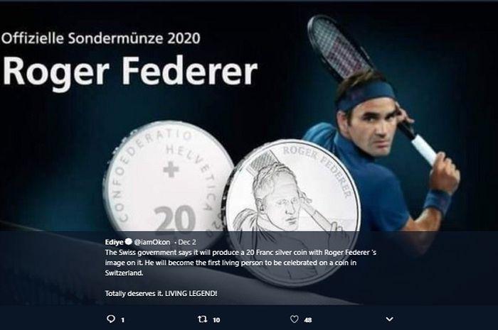 Wajah Roger Federer hiasi koin perak 20 franc Swiss, edisi terbatas dirilis pada 2020.