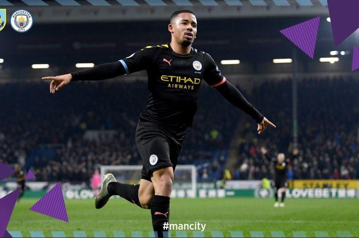 Striker Manchester City, Gabriel Jesus, sukses mencetak gol ke gawang Burnley dalam lanjutan pertandingan pekan ke-15 Liga Inggris, Selasa (3/12/2019) atau Rabu dini hari WIB