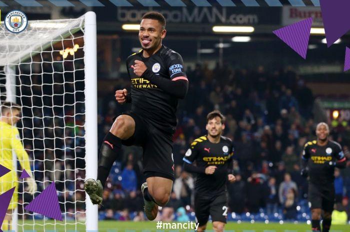 Striker Manchester City, Gabriel Jesus, sukses mencetak gol keduanya pada pertandingan melawan Burnley di Stadion Turf Moor dalam lanjutan pertandingan Liga Inggris pekan ke-15, Selasa (3/12/2019) atau Rabu dini hari WIB.