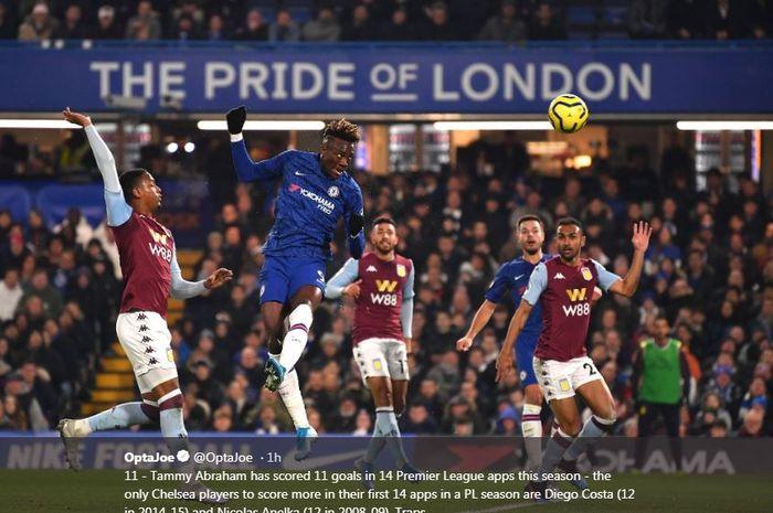 Tammy Abraham mencetak gol untuk Chelsea ke gawang Aston Villa.