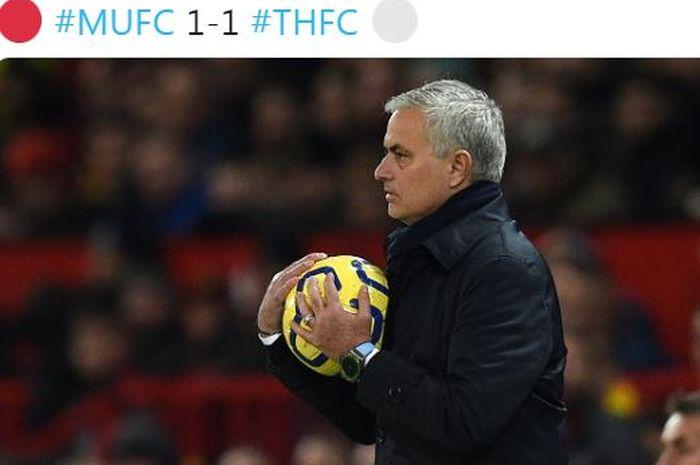 Ekspresi pelatih Tottenham Hotspur, Jose Mourinho, dalam laga Liga Inggris melawan Manchester United di Stadion Old Trafford, Rabu (4/12/2019).