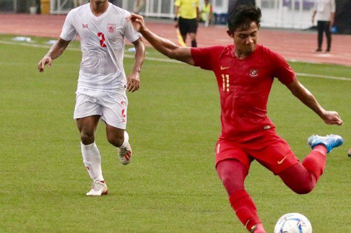 Firza Andika pada laga Timnas U-22 Indonesia Vs Myanmar di semifinal SEA Games 2019.