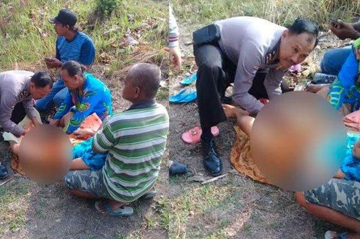 Aksi Ipda BJ Handoko membantu seorang ibu yang melahirkan di hutan